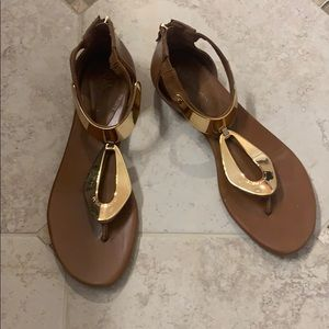 Brown and gold plated sandals